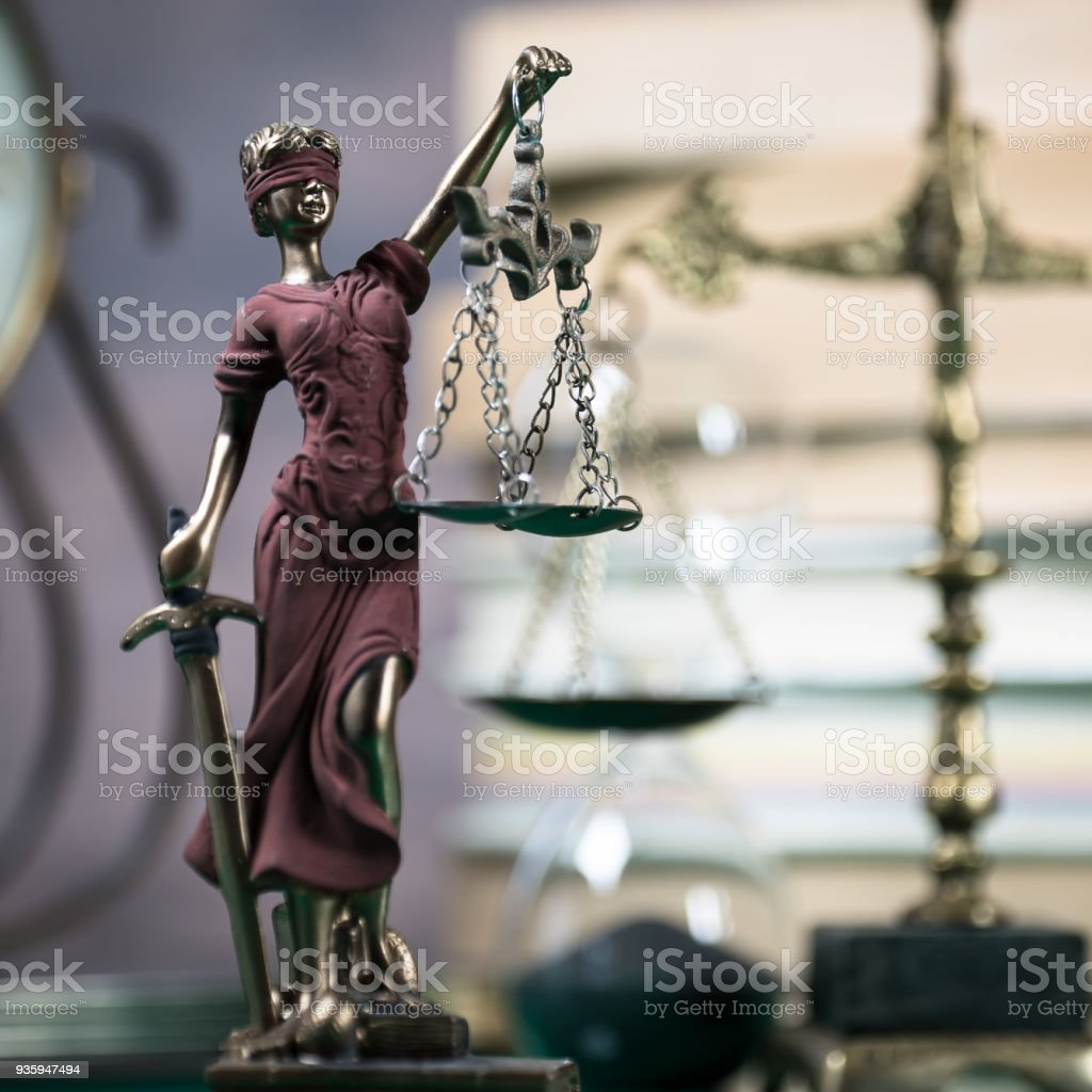 Law concept with Themis, symbol of justice. stock photo