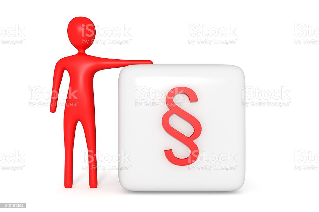 Law Cube With Red Section Sign Red Man 3d Illustration Stock Photo