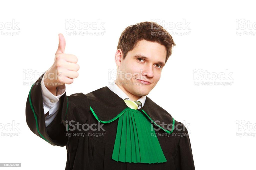 negozio ufficiale prezzo moderato prezzo speciale per Legge Uomo In Un Vestito Elegante Avvocato Mostrando Pollice ...