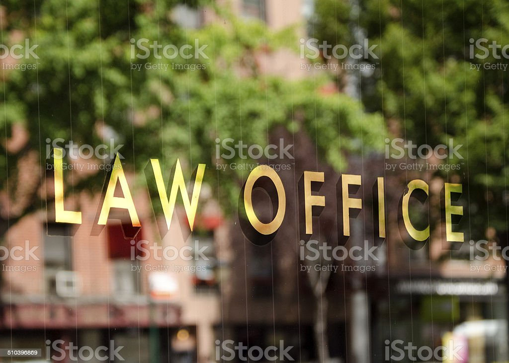 Law office window reflection stock photo