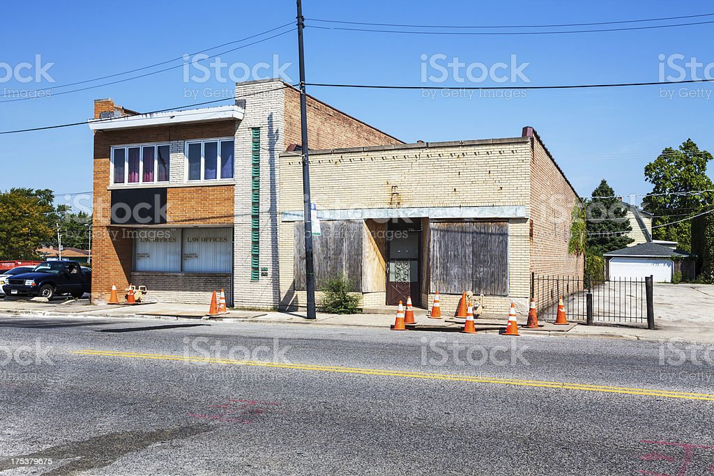 Law offices and boarded up shop, Mount Greenwood, Chicago stock photo