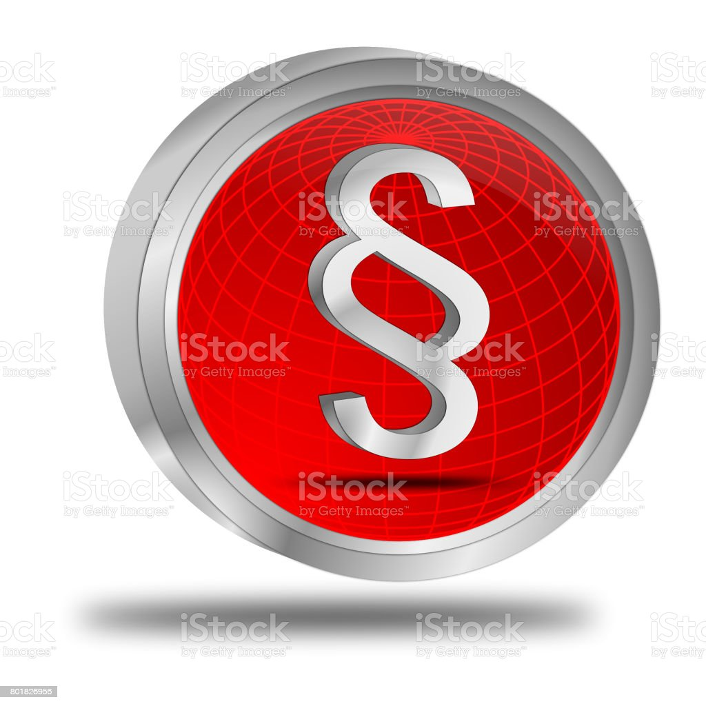 Law paragraph button - 3D illustration stock photo