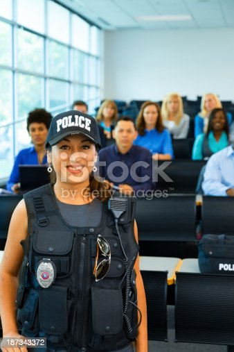 481711192 istock photo Law:  Policewoman speaks to potential police cadets. 187343372