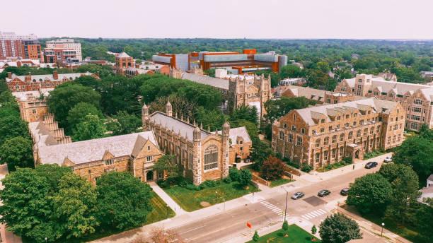 Law Quadrangle university of Michigan Ann Arbor Aerial view stock photo