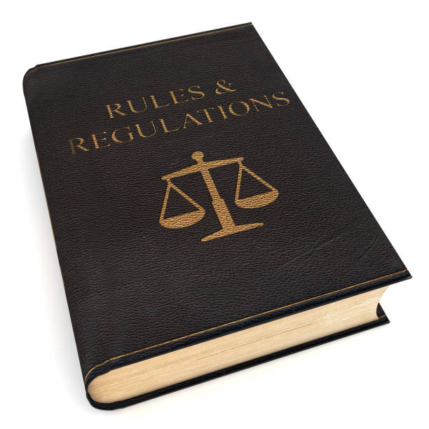 Law rules regulations scale book - foto stock