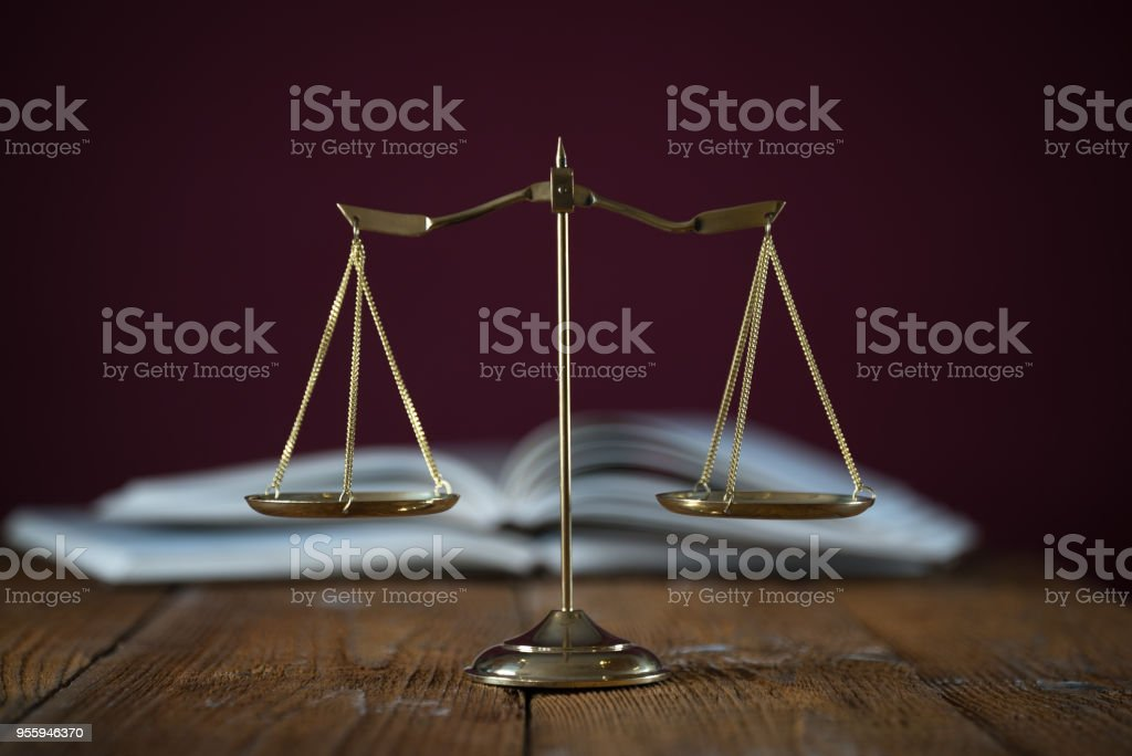 Law scale justice symbol. stock photo