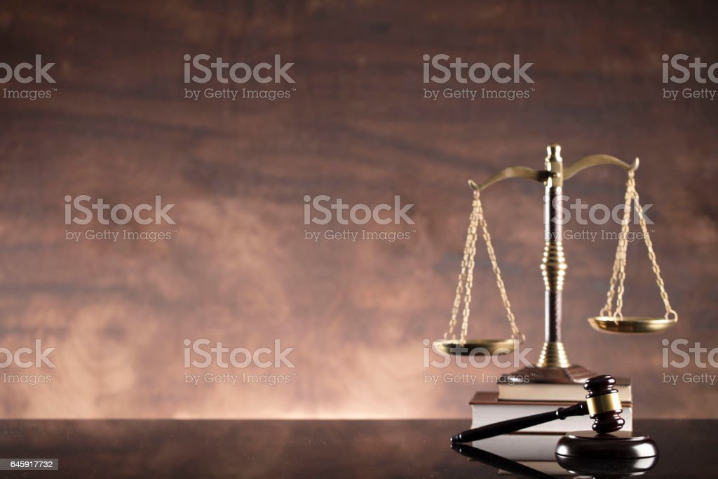 Law. Scales of justice, books, gavel stock photo