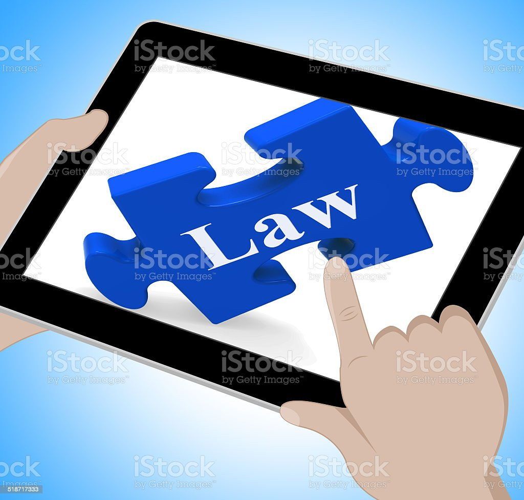 Law Tablet Means Justice And Legal Information Online stock photo