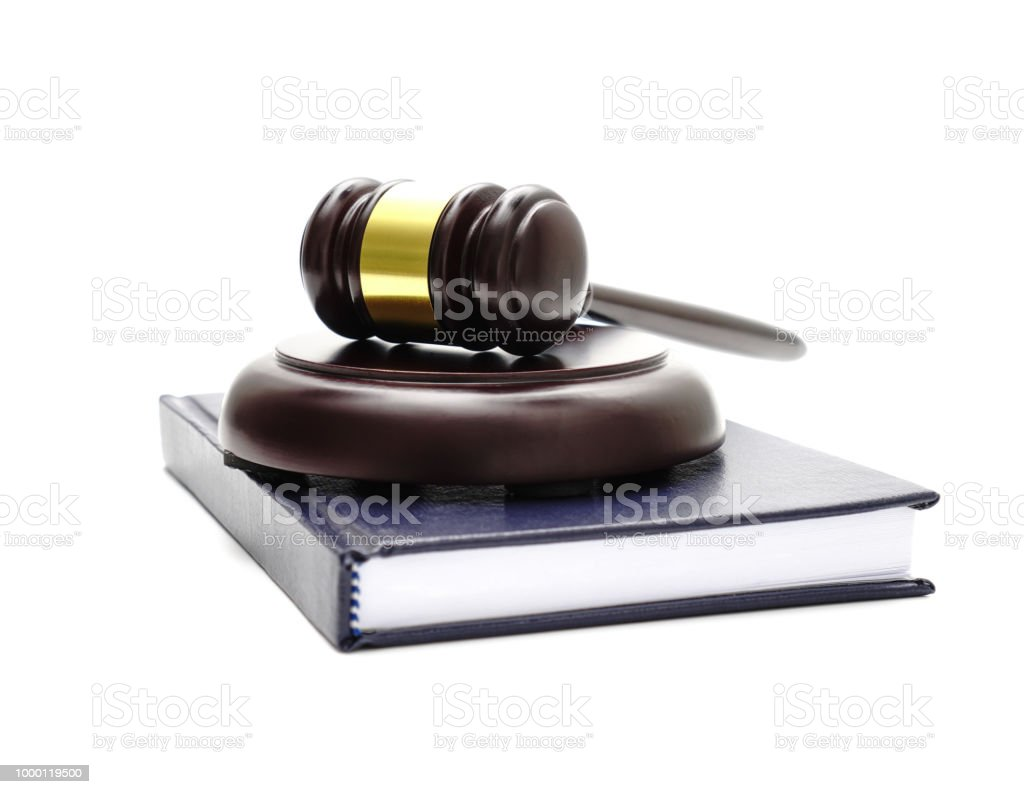 law theme, mallet of the judge, justice scale, hourglass, book stock photo