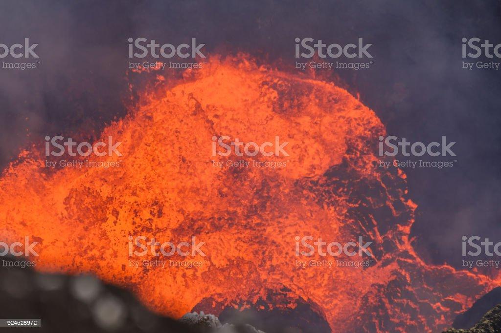 Lawa lake in Crater Marum, Ambrym island volcanic caldera, Vanuatu. stock photo
