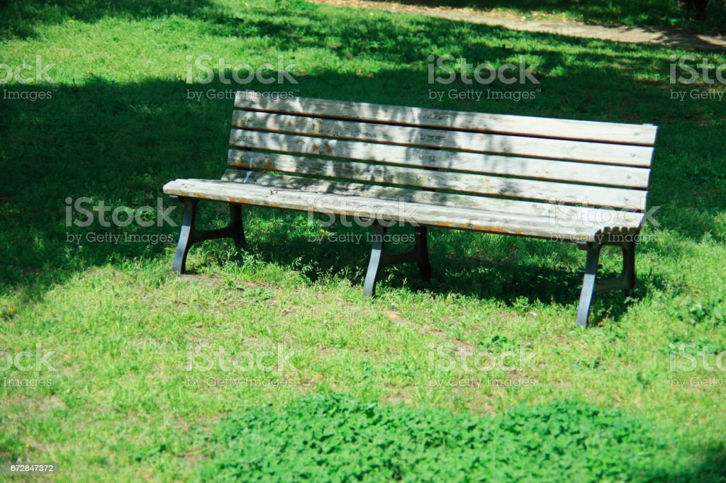 Lawn and benches stock photo