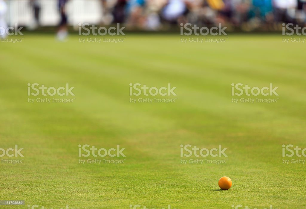 Lawn bowling green with wood stock photo