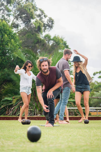 Lawn Bowling with Friends in Sydney Summer Australia stock photo