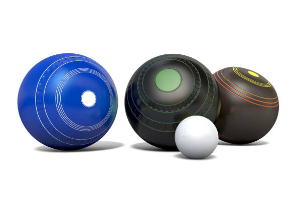 Lawn Bowls And Jack stock photo