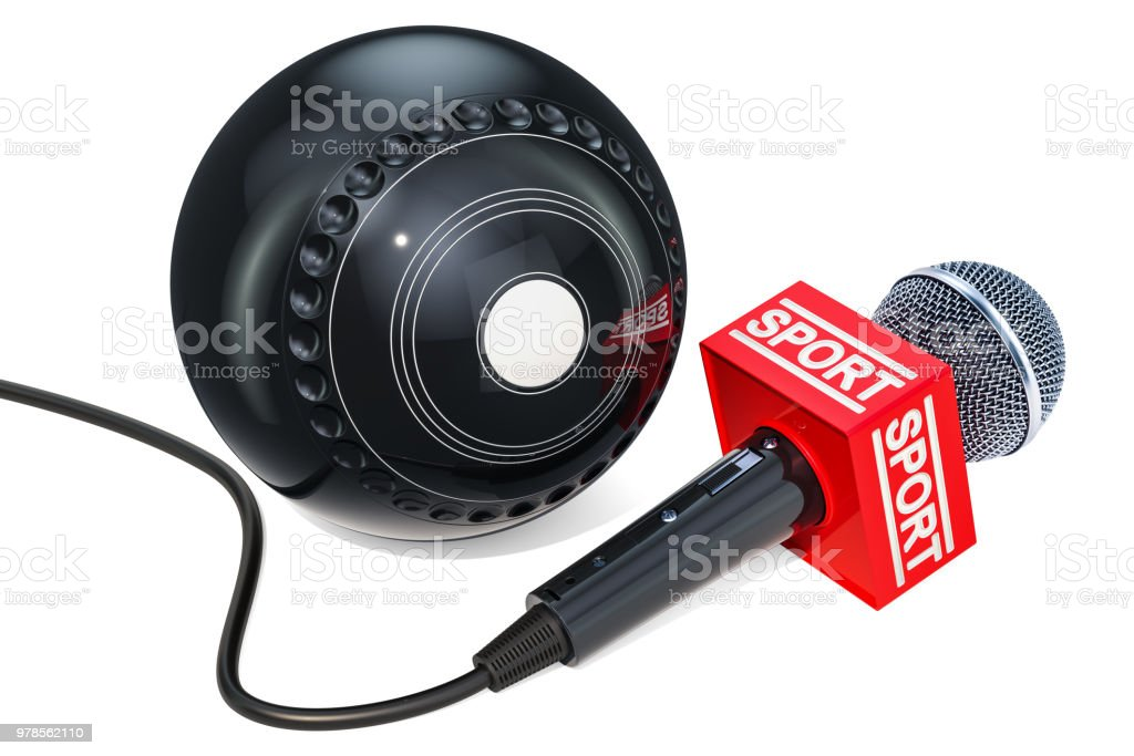 Lawn Bowls News concept. Microphone sport news with lawn bowl ball, 3D rendering isolated on white background stock photo