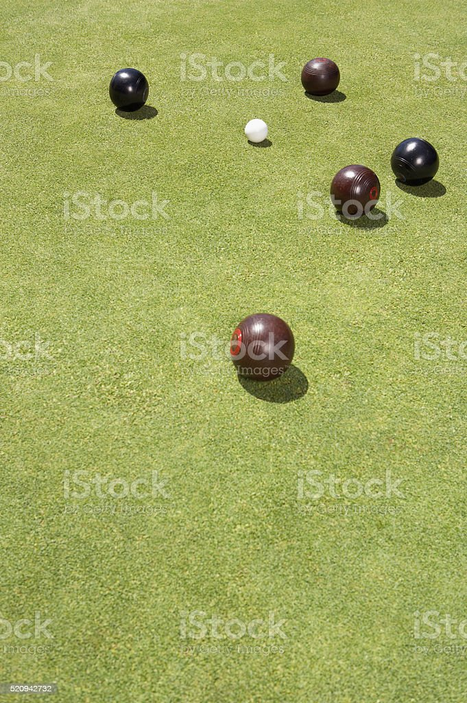 Lawn bowls on a bowling green stock photo