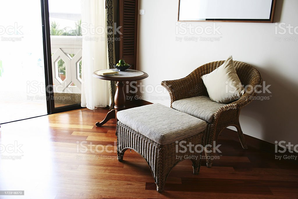 Lawn Chair in a Hotel Room royalty-free stock photo