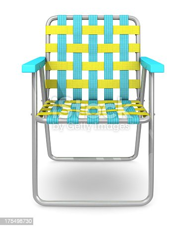 Classic lawn chair isolated on white.Could be useful in a summer composition.This is a detailed 3d rendering.