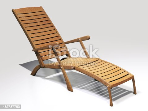 Wooden lawn chair (deck chair) on white background.