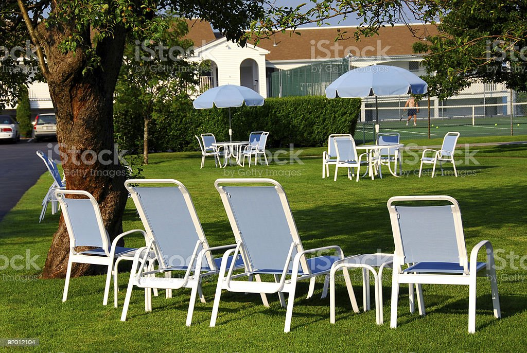 Lawn chairs hotel royalty-free stock photo