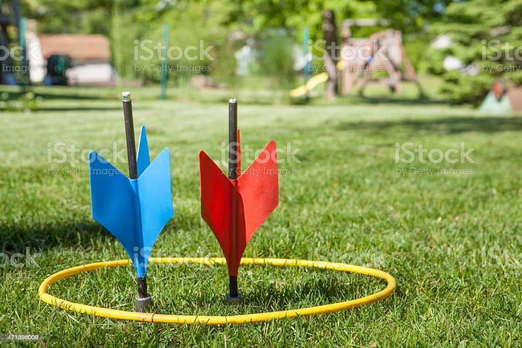 lawn darts in ring stock photo