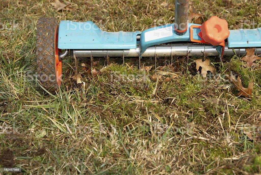 Lawn hand aerator stock photo