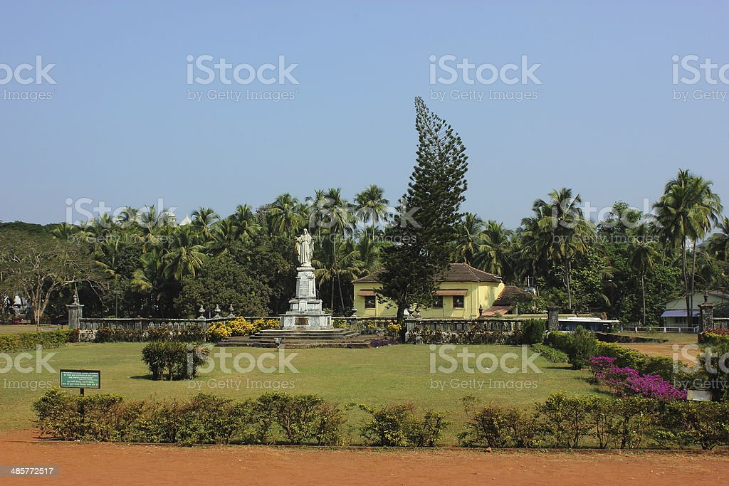 Lawn in Se cathedral in Old Goa, Goa state, India stock photo