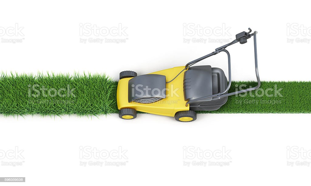 Lawn mower cutting grass isolated on white background. 3d render royalty-free stock photo