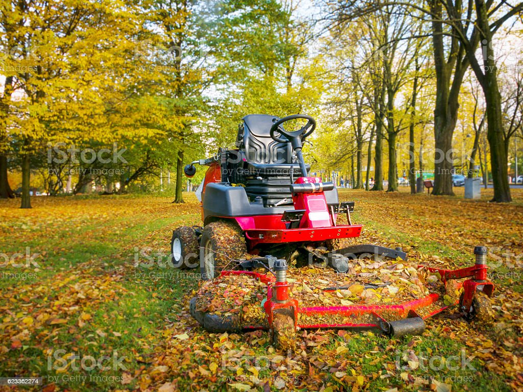 Lawn mower in autumn park, low perspective stock photo
