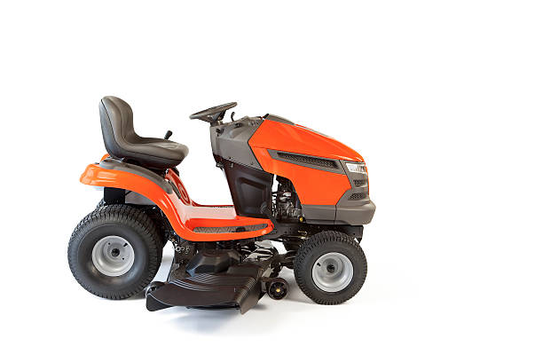 lawn mower isolated - riding lawn mower stock photos and pictures