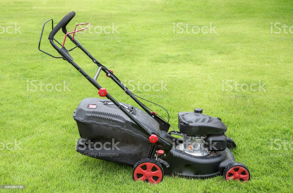Lawn mower on green grass. mowing gardener care work tool close up...