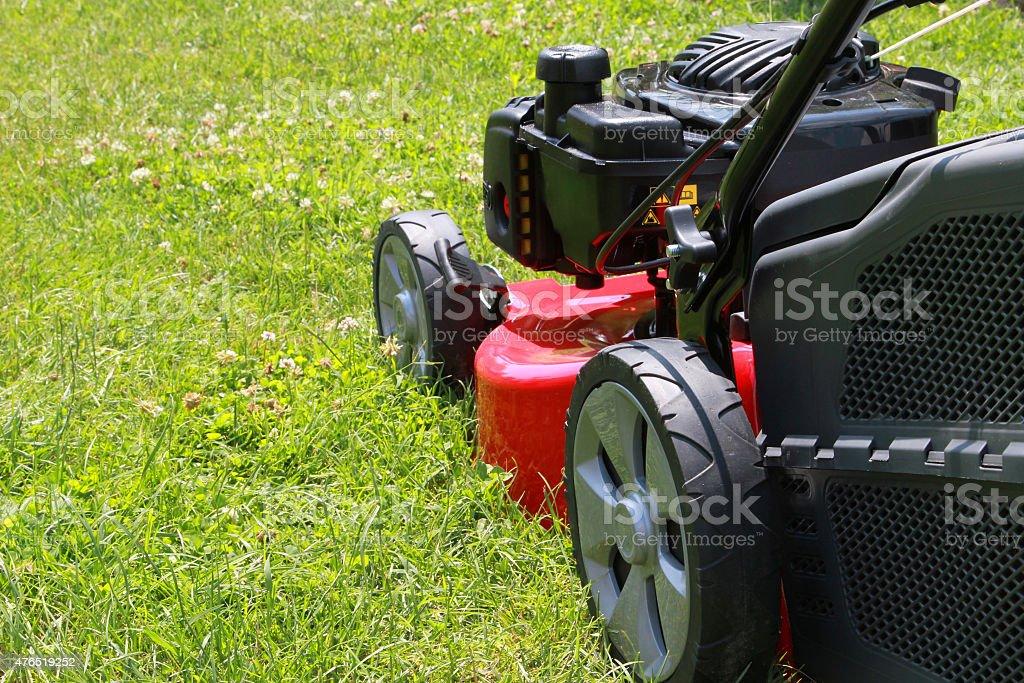 Lawn mower stock photo