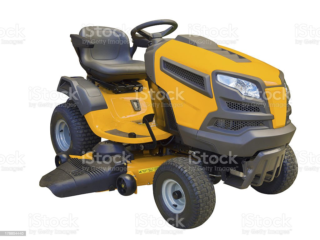 Lawn mower tractor, isolated on white stock photo