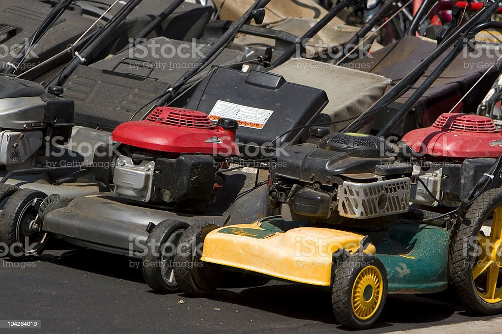 lawn mowers stock photo