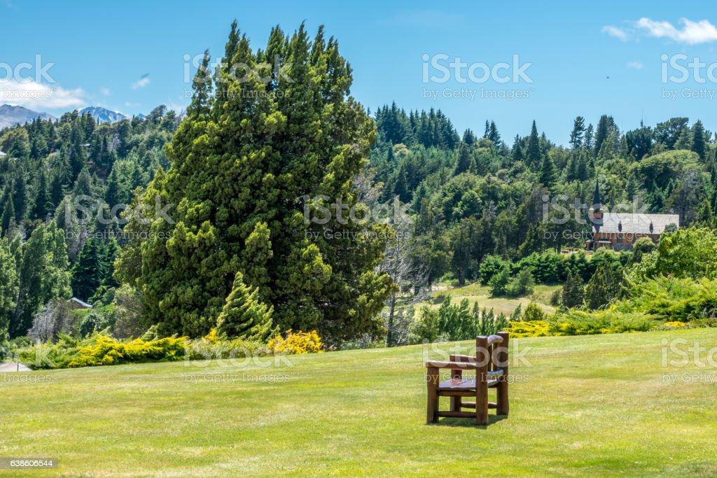 Lawn of the Llao Llao village stock photo
