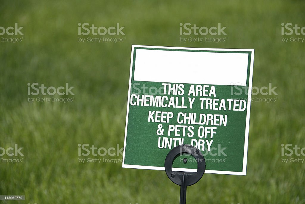 Lawn Sign for Fertilizer stock photo