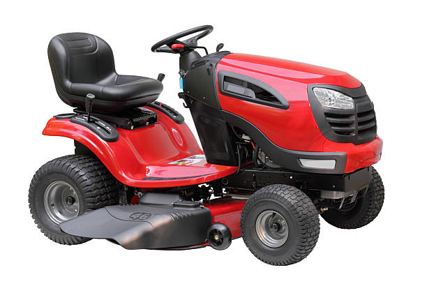 lawn tractor isolated - riding lawn mower stock photos and pictures