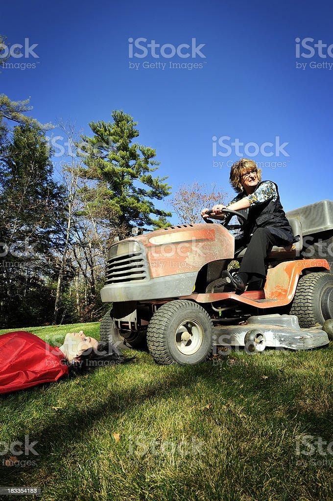 Lawnmower Hairdresser stock photo