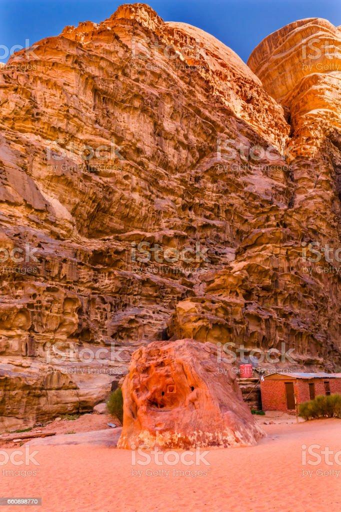 Lawrence Memorial Barrah Siq Valley of Moon Wadi Rum Jordan stock photo