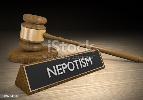 istock Laws against nepotism or favoritism of friends for advantages 639734192