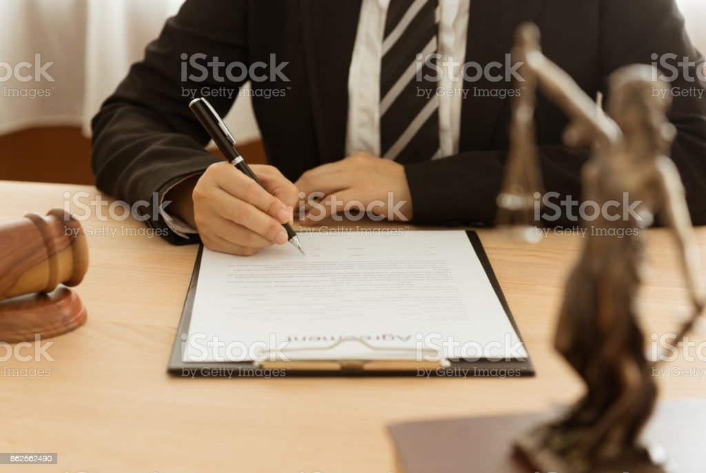 lawyer attorney contract stock photo