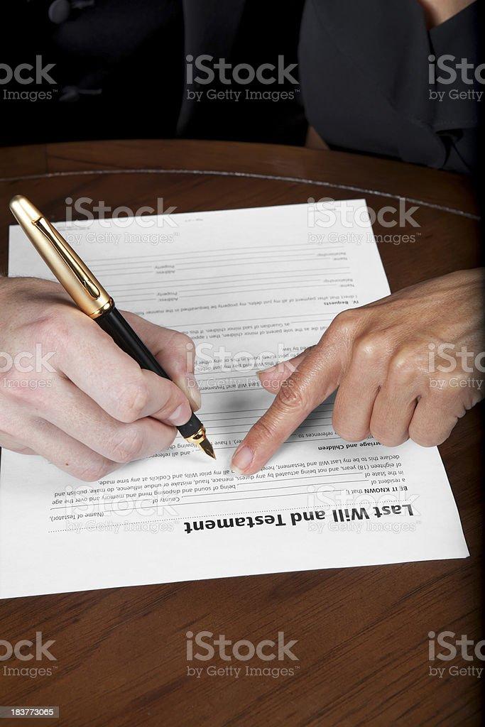 Lawyer explaining will stock photo