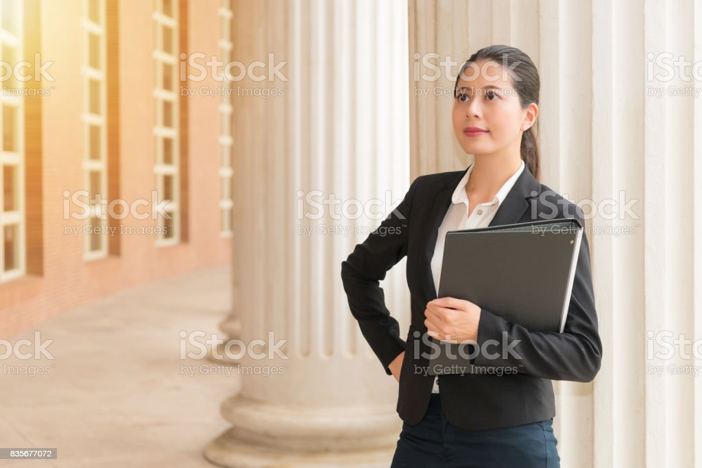 lawyer eyes looking at the sunlight copyspace stock photo