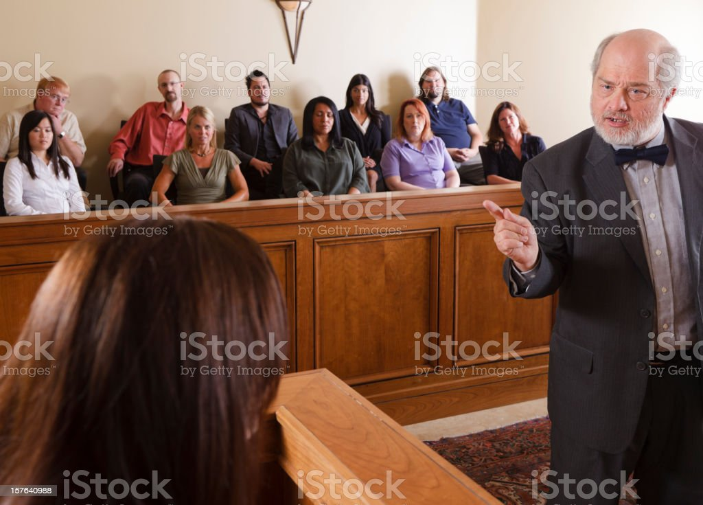 Lawyer in a Courtroom stock photo