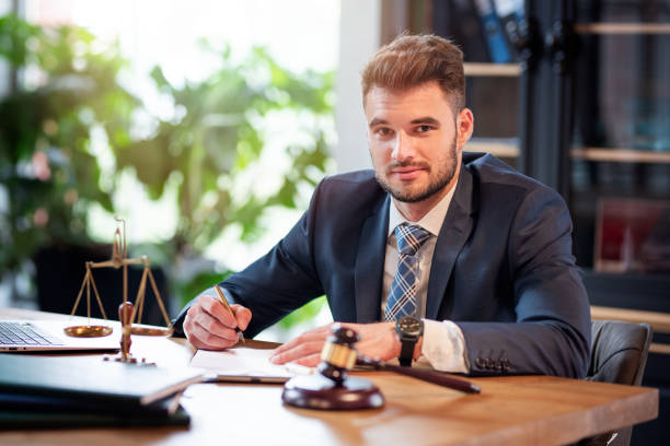 Lawyer or attorney working in the office stock photo