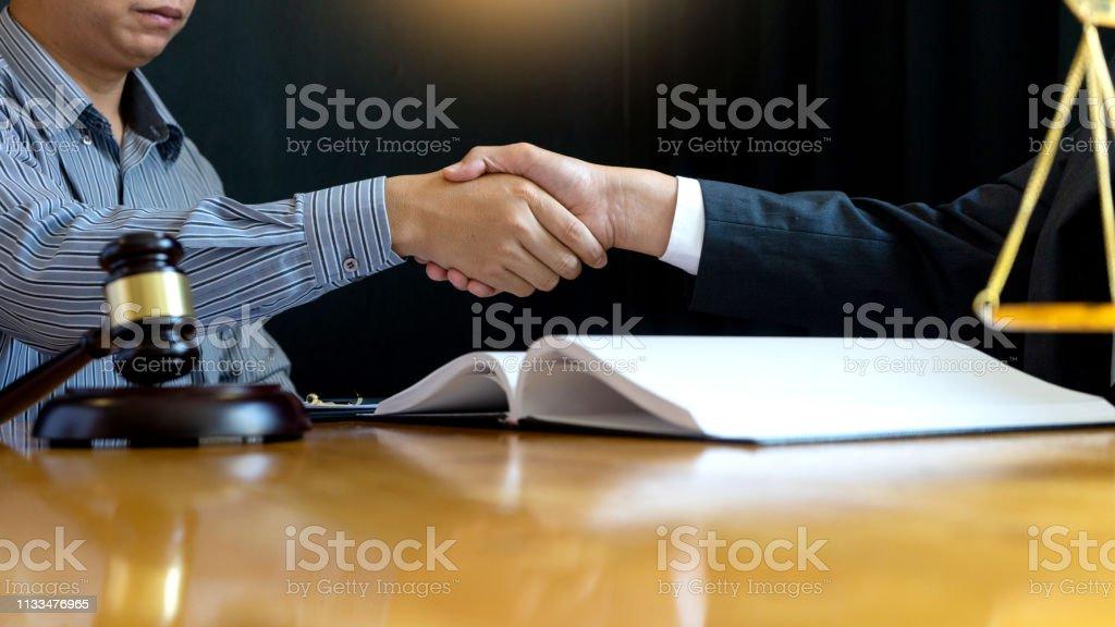 Lawyer Or Judge Gavel With Balance Handshake Stock Photo ...