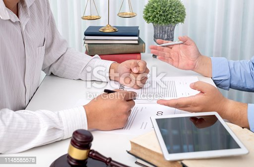 941906652 istock photo Lawyer provide legal advice. Attorney at law, consultant. 1145585578