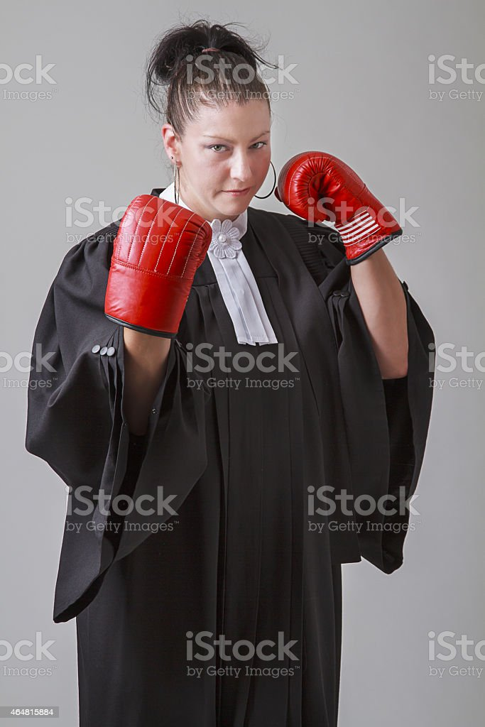 Lawyer with guards up stock photo