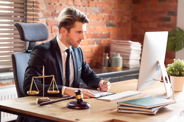 Lawyer working in office. Law and justice concept stock photo