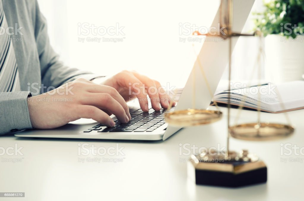 Lawyer working in the office stock photo